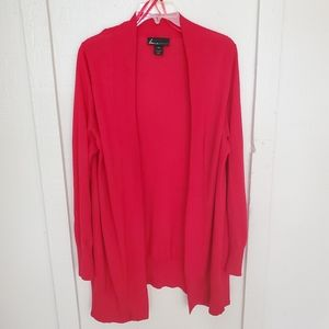 Lane Bryant red long open front cardigan